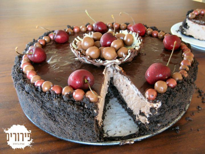 עוגת מוס גבינה טריפלשוקולד